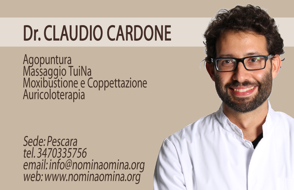 Contatti di Claudio Cardone email: info /\/ nominaomina.org Riceve per agopuntura e massaggio TuiNa a PESCARA